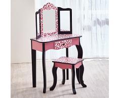 Coiffeuse enfant Teamson bois table maquillage miroir tabouret fille TD-11670A