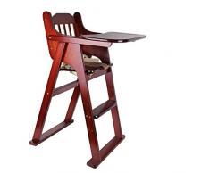 JZX Chaise Haute, Table et chaises de bébé, Chaise en Bois Massif Pliable avec Ceinture de sécurité,Cerise,Grand