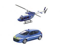 Mondo Motors - 57007 - Voiture Miniature - renault megane + Hélicoptère Sécurité France - Echelle 1/ 43 * NEUF Lunité / model aléatoire *