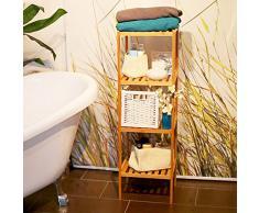 Relaxdays Étagère 4 niveaux en bois naturel Rangement HxlxP : 110 x 33 x 33 cm pour Salle de bain ou cuisine en Bambou meuble colonne sur pied 4 niveaux couloir cave jardin, nature