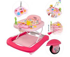 ib style® DINO trotteur bébé| Son & lumière | Certifié EN 1273:2005 |Rose