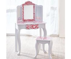 Teamson Kids- Coiffeuse avec Tabouret, TD-11670B, Pink & White