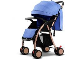 Poussette réversible portative d'enfant de poussettes de bébé (Bleu) 58 * 48 * 100cm