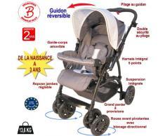 Poussette bébé 4 roues combiné 2en1 (poussette+siège auto Groupe 0+) - Guidon réversible - Coloris : gris, bleu