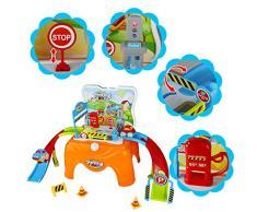 Garage Jouet Parking Voiture Enfant avec Voitures Miniature dans Tabouret de Transport Jeu d'imitation pour 3+