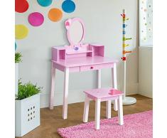 Homcom Coiffeuse Enfant Table de Maquillage avec Tabouret, 1 tiroir, Miroir 59 x 39 x 92 cm Bois Rose Neuf 14