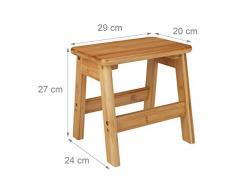 Relaxdays Tabouret repose-pieds bambou RUSTICO table console bois guéridon petit tabouret enfant HxlxP: 27 x 29 x 24 cm, nature