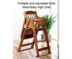 LXLA - chaise haute pour bébé en Bois réglable en Hauteur - Chaise de Salle à Manger Pliante avec Plateau et Ceinture de sécurité pour la Famille, Le Plein air et Les Voyages