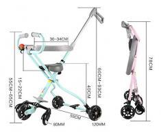 GHDE& 2-6 Ans Alliage d'aluminium Simple Poids léger Les Enfants Mini Trike Chariot à Trois Roues Poussette de bébé Volant 5 Tours Stable,B