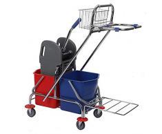 JUEYAN Kit de nettoyage professionnel avec poussette, chariot de nettoyage et roulettes 2 x 17 l