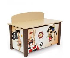 Coffre à jouets en bois meuble chambre enfant motif pirate 66x50x39cm APE06001