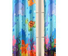 """Rideaux d'eau du monde - Ensemble de 2 panneaux de rideau pour une pépinière bébé ou un bambin ou enfants Chambre - 48 """"x 60"""" panneaux - Blackout Poly Satin Tissu"""