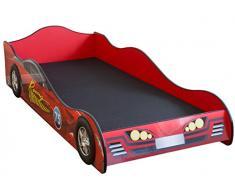 Lit enfant voiture de course enfant rouge, en bois MDF - Dim : H 44 x L 94 x P 212 cm -PEGANE-