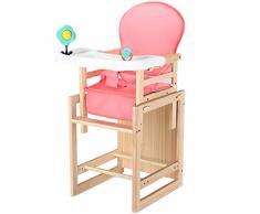 Chaise Haute Bébé Chaise Haute Évolutive Siège Enfant Multifonctionnel en Bois Massif LIUDINGDING (Color : Pink Cushion+Plate, Size : Large)