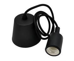 ENUOTEK Lampe Suspension Silicone Noire Luminaire Suspendu Plafonnier Couleur Moderne avec Douille Ampoule E27 pour Cuisine Salle a Manger Chambre Enfant