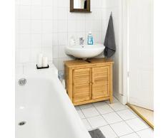 Relaxdays Meuble dessous de lavabo LAMELL pour la salle de bain cuisine 2 Portes en bambou Sous-lavabo rangement serviettes accessoires H x l x P: 60 x 67 x 30 cm armoire dessous évier Bois, nature