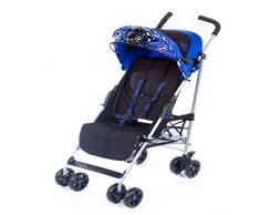 Poussette canne Citi Elite Kidz Kargo. Buggy pour bébé et enfant à partir de la naissance et jusqu'à 22.5kg. Poussette légère (7kg) pliage compacte. Nouveau-né. Couvre jambe inclus, réversible (uni /imprimé). Bleu