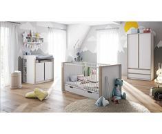 Chambre bébé enfant complète Ensemble Nandini Set 1 en Blanc mat avec des bandeaux en Gris sable haute brillance