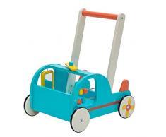 Chariot Enfant, 2-en-1 Utilisation comme Trotteur Enfant, Avion Bleu Trotteur Bois pour 1 An et Plus, coffre à jouet mobile Trotteur Bébé Fille/formes Chariot Bois/Trotteur Pousseur Bébé Garçon