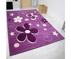 VIMODA Enfants Tapis Moderne, Fleurs étoiles,Couleur Mauve - ÖKO TEX certifié - Facile à entretenir - Violet, Violet, 60 cm x 110 cm