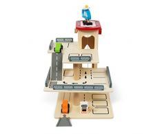 Kledio Garage/parking à étages pour enfants en bois FSC® 100 % avec élévateur mécanique