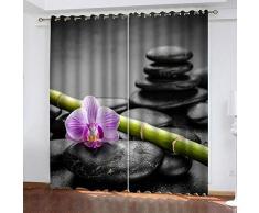 Rideau Occultant 3D À Oeillets - Fleur Zen Noire Pourpre - Rideau Occultant Décor Moderne pour Chambre denfants Accroché À La Tringle À Rideau - 150X166Cm