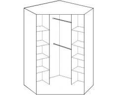 2 porte 8 Étagère avec 2 Portes Miroir Armoire d'Angle – En noyer et finition noir brillant – 8 Étagère et penderie étagère intermédiaire – Emballage à plat pour un Assemblage chez soi......