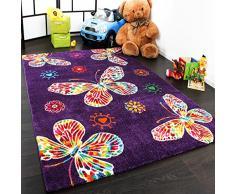 Tapis Pour Enfant Moderne Design Avec Papillons En Purpre Violet Qualité Top, Dimension:80x150 cm