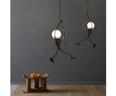 DAXGD Lustre en fer, Créatif fer Gens Dessin animé, Suspension élégante pour Chambre Enfant (Ampoule Non incluse)
