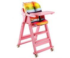 GJJSZ Chaise Haute pour Enfants,Table et chaises de Salle à Manger en Bois Massif,Chaise de Salle à Manger pour bébé dhôtel,siège denfant Pliable