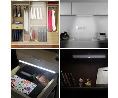 Lampe Detecteur de mouvement Automatique, Kingland 18 LEDs Rechargeable Sans-Fil Adhésif, Veilleuse Armoire Cabinet Titoir Placard Garage Escalier Commode Buffet Penderie Cusine Salle de Bain Sortie Toilette, etc