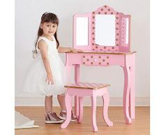 Teamson Kids - Coiffeuse enfant bois table maquillage miroir lumineux lumière éclairage LED tabouret fille TD-11670LL - rose / rose or