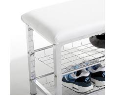 Banc avec étagère à chaussures INA, chromé/blanc 2 tablettes