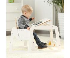 Chaise Haute Bébé Évolutive Siège Multifonctionnel en Bois Massif ZHANGQIANG (Couleur : Blanc, Taille : Large)