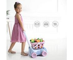 Devlope Jouet à Couper, Jouet de Chariot de Fruits et Légumes à Couper Éducatif Tôt Développement Intellectuel pour Bébé Enfant pour 1-12 Ans Filles et Garçons, Chariot de Marche Trolley