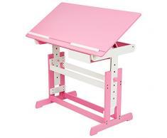 TecTake Bureau enfant hauteur réglable inclinable 109x55cm avec commode caisson à roulettes - rose