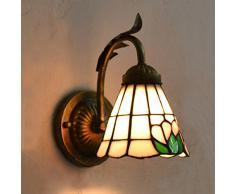 Vert Fleur Rose Tiffany Lampe de chevet pour chambre d'enfant couloir murale Blacony couloir Applique en Bronze murale Lampe murale