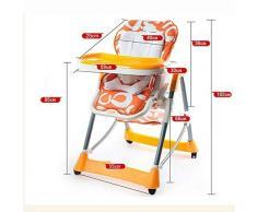 WYQBBY Chaise Haute, Chaise d'enfant bébé Chaise de bébé Multifonction siège de Table de Repas Pliante Repas Peut être levée et abaissée, la Base est Stable, avec Roue Universelle