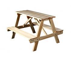 SixBros. Table de pique-nique pour enfant - Table en bois/bancs - de pin massif couleur naturelle - PTS-186-1/1158