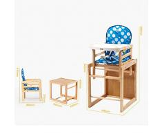 ZHAOYONGLI Chaise Haute bébé Chaise Haute Évolutive Chaise multifonctionnelle en bois massif Créatif Forte Durable Longue durée de vie (Couleur : Bleu, taille : Large)