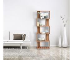 Mobili Rebecca® Bibliotheque Etagere de Rangement 5Etagères Bois Marron Style Moderne Chambre Enfant Living (Cod. RE4790)