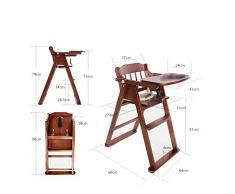Chaise de bébé Chaise Haute bébé Chaise multifonctionnelle Portable Pliante en Bois Massif ZHANGQIANG (Couleur : Brown, Taille : Large)