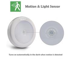 SOAIY 3pcs Veilleuse Lampe Autocollante LED de 0,3W Automatique avec Capteur de Mouvement Physique Alimenté par Piles pour Chambre d'Enfant / Toilette / Entrée / Escalier / Couloir / Passage / Penderie / Placard / Étagère