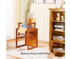 Chaise haute bébé à Manger Chaise Multifonction siège d'apprentissage Chaise Portable en Bois Massif Multi-usages (Color : Brown, Size : 43.5 * 46 * 95cm)