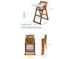SHPP, Chaise Haute en Bois Massif pour Chaise de bébé, pin XP, Installation réglable, Pliable et Gratuite, âgée de 6 Mois à Environ 8 Ans (Charge maximale 70 kg)-Woodcolor-classicstyle