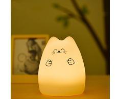 Mystery LED Portable Silicone Multi Color lampe de nuit Petit Lampe Enfant Lampe Table avec Warm White & 7-Color Respiration double Modes Lumière, Contrôle du robinet Sensitive pour bébé Adultes Chambre (Fortune Cat)