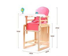 Chaise Haute Bébé Chaise Haute Évolutive Antidumping Réglable en Bois Massif Multifonctionnel Et Portable ZHANGQIANG (Couleur : Upgrade Pink, Taille : Large)