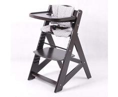 Chaise Haute en bois Ajustable Chaise bébé Escalier chaise haute BRUN FONCÉ HC6551-B