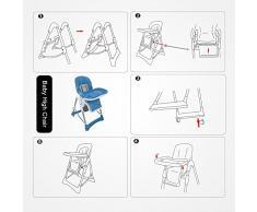 Domaier - Chaise Pliante pour Bébé, Chaise Haute pour Bébé, Bleu, Taille déployée: 105 x 75 x 60 cm, Poids: 8,90 kg
