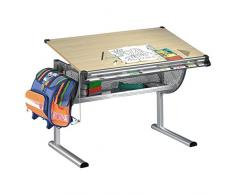 IDIMEX Bureau enfant écolier junior MARIO table à dessin réglable en hauteur et plateau inclinable en MDF
